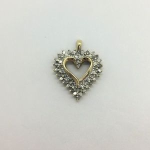 Jewelry - 10k Yellow Gold Diamond & White Gold Heart Pendant